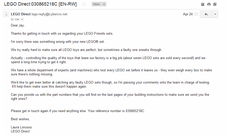 Doing It Right, Lego Customer Service Style
